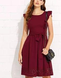 COMING SOON! wine laser cut flounce dress